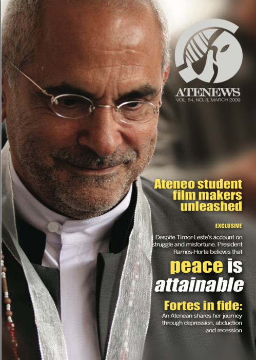 Atenews' March 2009 issue with then East Timor President Jose Ramos Horta on the cover. My shot, by the way. :)